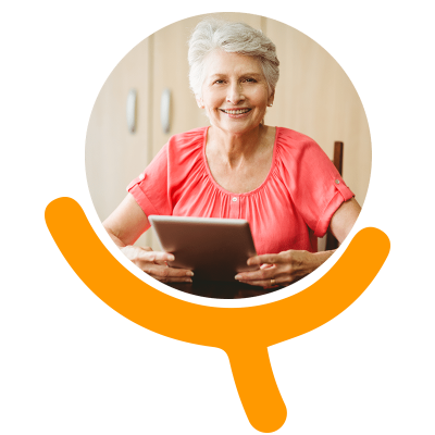 elder with tablet on Active Ageing elearning